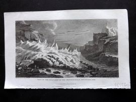 Gallery of Nature 1818 Antique Print. Glaciers in the Grindelwald, Switzerland